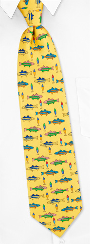 Striped Bass Tie by Alynn Novelty -  Yellow Silk